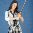 Young woman with the Japanese sword in a hands — Stock Photo