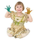 Little girl with multicolored palms — Stockfoto