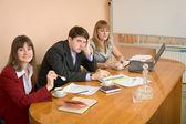 Grupp män på business session — Stockfoto