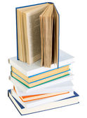 Pyramid from books with color covers on a white — Stock Photo