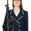 Girl in a sea uniform with a rifle — Stock Photo