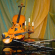 Still-life from a violin and instruments - Stock Photo