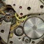 macrophoto van oude uurwerk achtergrond — Stockfoto