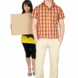 Woman and man bear the big box — Stock Photo