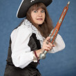 Frightened pirate girl - with pistol — Stock Photo