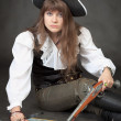 Woman - pirate with sea map and pistol — Stock Photo