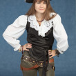 Pirate woman in hat — Stock Photo