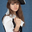 Serious girl in costume of sea pirate — Stock Photo