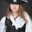 Portrait of serious pirate woman in hat — Stock Photo