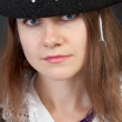 Portrait of serious pirate woman in hat close-up — Stock Photo