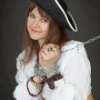 Sexy girl in a costume pirate chained — Stock Photo
