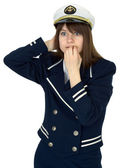Scared girl - sea captain on a white background — Stock Photo