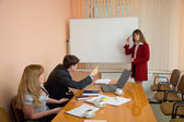 Young woman to speak at a meeting — Foto Stock