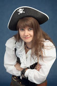 Portrait of pirate woman in hat — Stock Photo