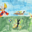 Children drawing on a paper - butterflys — Stock Photo