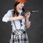 Girl in helmet standing — Stock Photo #2311302