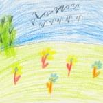 Color kid art on white paper - flock — Stock Photo