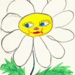 Stock Photo: Naive drawing on paper made child - chamomil