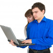Young couple with the laptop — Stock Photo