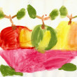 Child has drawn vase with apples — Stock Photo #2312912