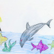 Drawing made child-Girl, fishes, dolphin — Stock Photo