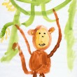 Drawing made child - Monkey and lianas — Stock Photo #2313246