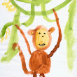 Drawing made child - Monkey and lianas — Stock Photo