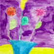 Drawing made child - Flowers in vase — Stock Photo