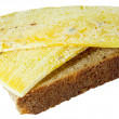 Spoiled moldy sandwich with cheese — Stock Photo