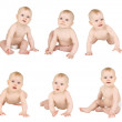 Set of kids in diapers isolated - Stock Photo