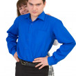 Young man protects the woman — Stock Photo