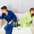 Stock Photo: Quarrelled husband and wife at house on sofa
