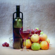 Art still-life from wine and apples against sack — Stock Photo #2317362