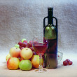 Still-life with wine and fruits — Stock Photo