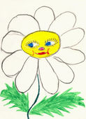 Naive drawing on paper made the child - chamomil — Stock Photo