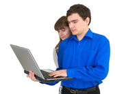 Young couple with the laptop — Zdjęcie stockowe