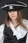 Portrait of girl in piracy hat close up — Stock Photo