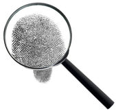 Magnifier and fingerprint isolated — Stock Photo