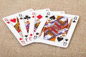 Cztery karty do gry - queens na płótnie — Zdjęcie stockowe