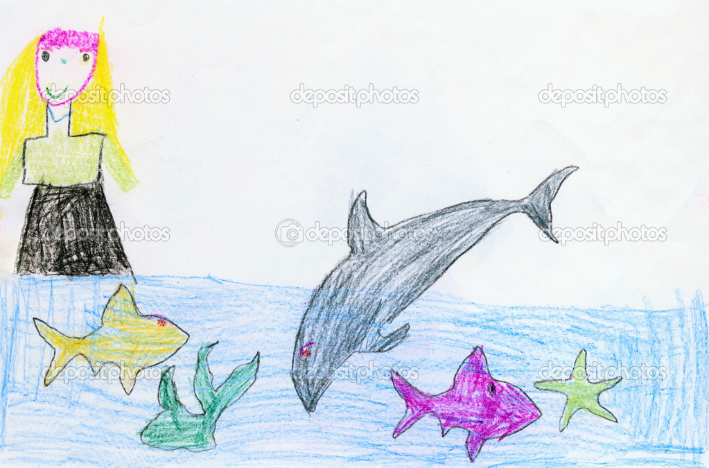 Drawing made the child - Girl, fishes and a dolphin — Stock Photo #2313224