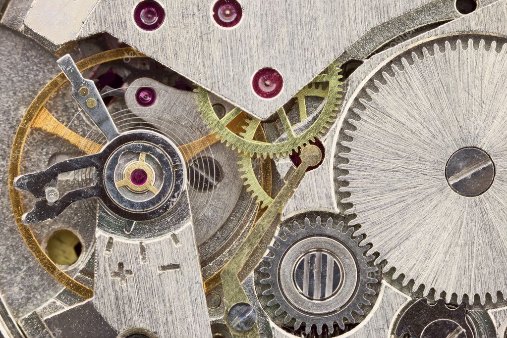 Ancient tiny metal clockwork close up background — Stock Photo #2313442