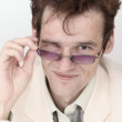 Amusing portrait of artful man with spectacles c — Stock Photo #2320207