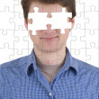Stock Photo: Unknown person with puzzle effect