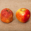 Two apples against canvas - bad and good — Stock Photo