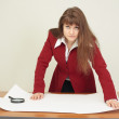 Woman - engineer works with big drawing — Stock Photo
