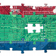 Color circuit board puzzle isolated — Stock Photo