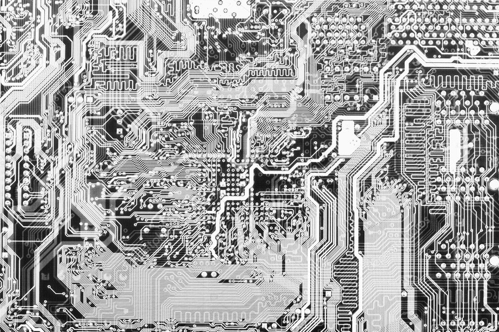 Circuit board electronic black and white background — Stock Photo #2323752