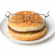 Amusing hamburger in spectacles — Stock Photo