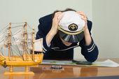 Woman in uniform of sea captain — Stock Photo