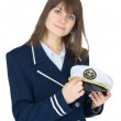 Portrait of woman in uniform of sea captain on w - Stockfoto